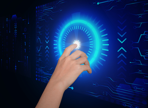 hand click on button security future technology conceptの写真素材 [FYI00652725]