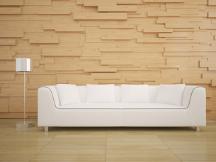 sofa and wood wall in living room modern interior style designの素材 [FYI00652753]