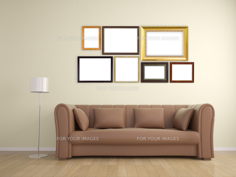 picture frame on wall and sofa furniture interior designの素材 [FYI00652779]