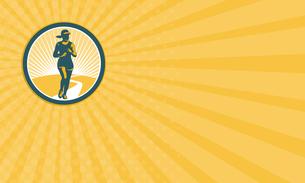 Business card Female Marathon Runner Circle Retroの写真素材 [FYI00653223]