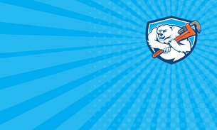 Business card Polar Bear Plumber Monkey Wrench Shield Cartoonの写真素材 [FYI00653226]