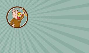 Business card Turkey Builder Hammer Circle Cartoonの写真素材 [FYI00653234]