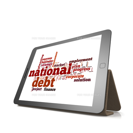 National debt word cloud on tabletの素材 [FYI00653284]