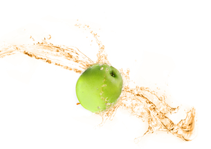 Green apple with water splash, isolatedの写真素材 [FYI00653617]