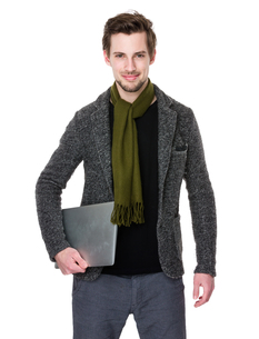 Caucasian man hold with laptop computerの写真素材 [FYI00653683]