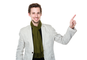 Caucasian man with finger point upの写真素材 [FYI00653686]