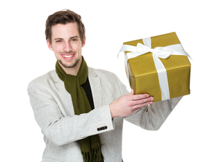 Man hold with present boxの写真素材 [FYI00653690]