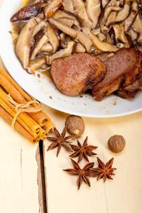 venison deer game filet and wild mushroomsの写真素材 [FYI00653747]