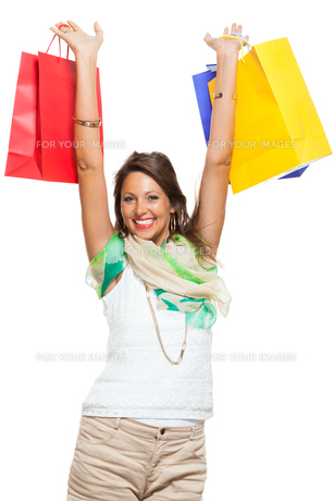 young stylish woman with colorful shopping bags sale saleの写真素材 [FYI00653812]