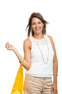 young stylish woman with colorful shopping bags schlussverkauf saleの写真素材 [FYI00653822]