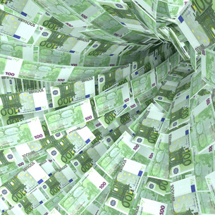 money vortex of 100 euro notesの写真素材 [FYI00653977]