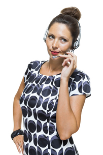 young businesswoman with headset operator telephone operator with headsetの写真素材 [FYI00654000]