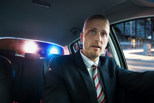 Scared Man Pulled Over By Policeの写真素材 [FYI00654237]