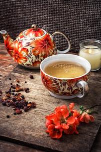 porcelain cup of fragrant tea for medicinal herbsの写真素材 [FYI00654333]