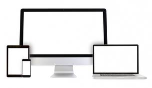 modern monitor, computer, laptop, phone, tabletの写真素材 [FYI00654557]