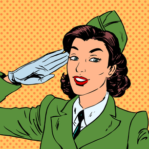 Woman pilot stewardess shape salutes art comics retro style Halの素材 [FYI00654679]