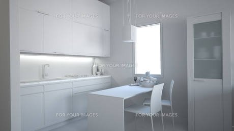3D interior rendering of a small loft without texturesの素材 [FYI00654962]