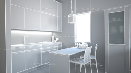 3D interior rendering of a small loft without texturesの素材 [FYI00654963]