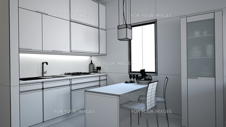 3D interior rendering of a small loft without texturesの素材 [FYI00654965]