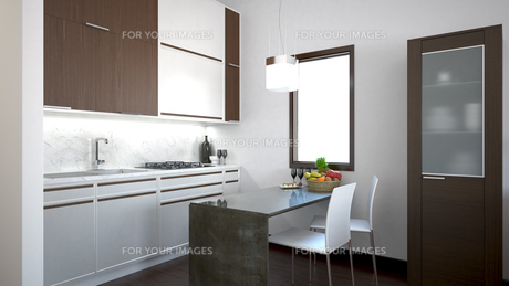 3D interior rendering of a small loft with texturesの素材 [FYI00654966]