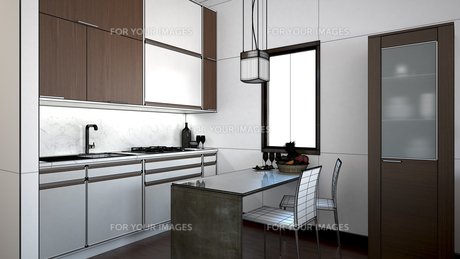 3D interior rendering of a small loft with texturesの素材 [FYI00654967]