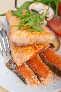 grilled samon filet with vegetables saladの写真素材 [FYI00655231]