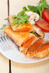 grilled samon filet with vegetables saladの写真素材 [FYI00655235]