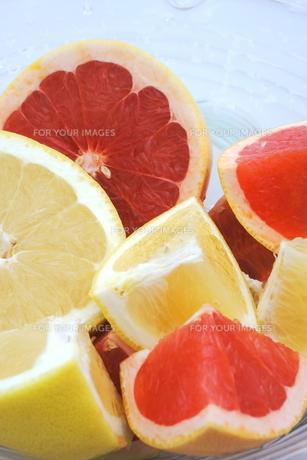 カットフルーツ グレープフルーツ2種の写真素材 [FYI00655844]