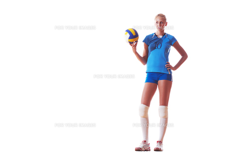 volleyball woman isolated on white backgroundの写真素材 [FYI00656281]