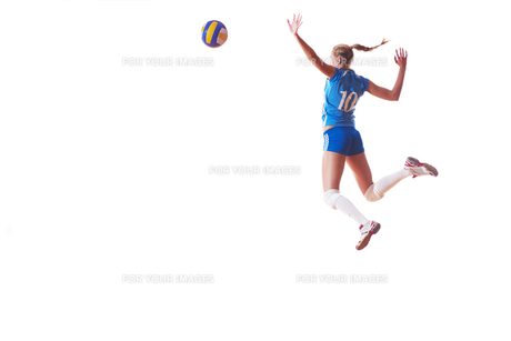 volleyball woman isolated on white backgroundの写真素材 [FYI00656334]