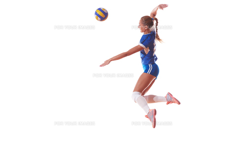 volleyball woman isolated on white backgroundの写真素材 [FYI00656335]