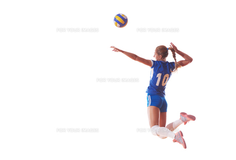 volleyball woman isolated on white backgroundの写真素材 [FYI00656336]