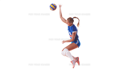 volleyball woman isolated on white backgroundの写真素材 [FYI00656337]