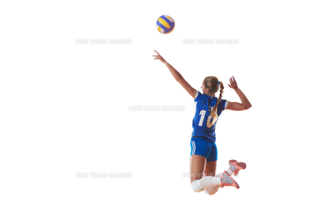 volleyball woman isolated on white backgroundの写真素材 [FYI00656338]