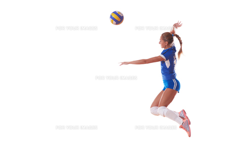 volleyball woman isolated on white backgroundの写真素材 [FYI00656339]