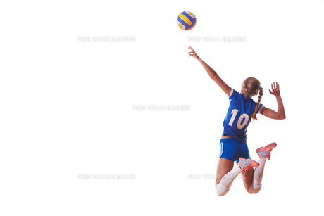 volleyball woman isolated on white backgroundの写真素材 [FYI00656341]