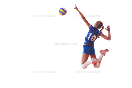 volleyball woman isolated on white backgroundの写真素材 [FYI00656342]