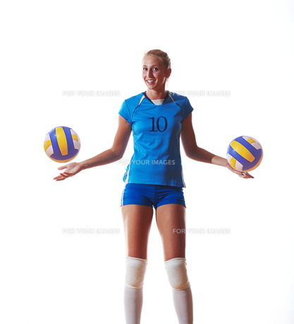 volleyball woman isolated on white backgroundの写真素材 [FYI00656343]
