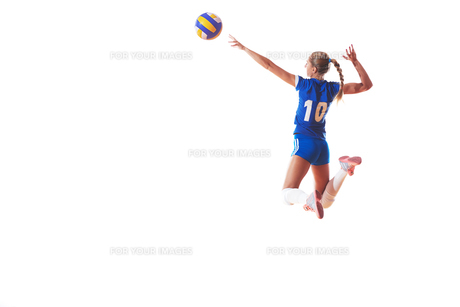 volleyball woman isolated on white backgroundの写真素材 [FYI00656344]