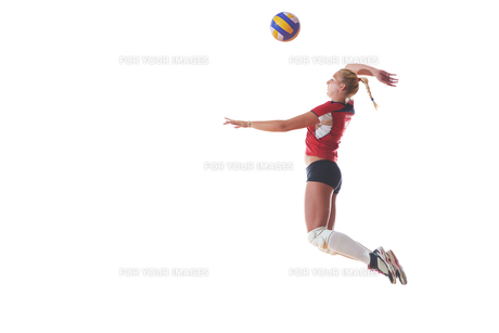 volleyball woman isolated on white backgroundの写真素材 [FYI00656345]