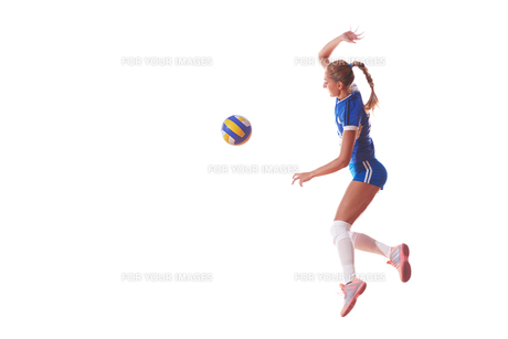 volleyball woman isolated on white backgroundの写真素材 [FYI00656346]
