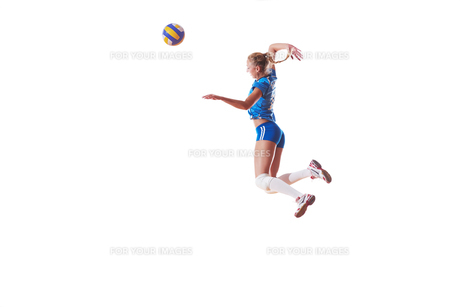 volleyball woman isolated on white backgroundの写真素材 [FYI00656347]