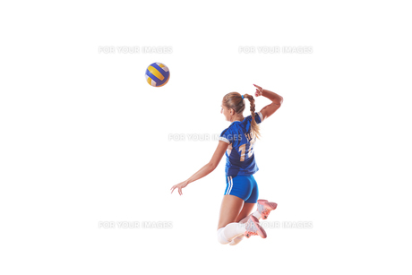 volleyball woman isolated on white backgroundの写真素材 [FYI00656348]
