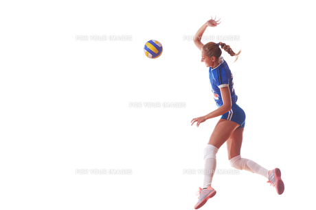 volleyball woman isolated on white backgroundの写真素材 [FYI00656349]