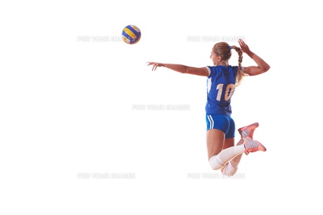 volleyball woman isolated on white backgroundの写真素材 [FYI00656350]