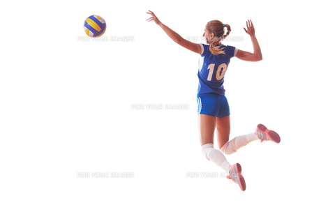 volleyball woman isolated on white backgroundの写真素材 [FYI00656351]