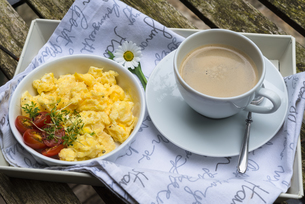 Aerial view tasty fresh scrambled eggs on plate wooden backgroundの写真素材 [FYI00656353]