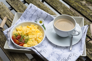 Aerial view tasty fresh scrambled eggs on plate wooden backgroundの写真素材 [FYI00656356]