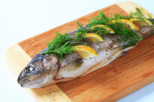Raw trout with lemon and dillの写真素材 [FYI00656530]