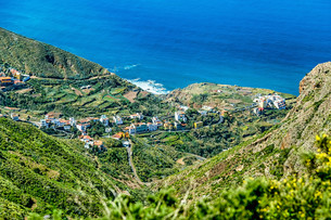 Village in green valley near oceanの写真素材 [FYI00656655]